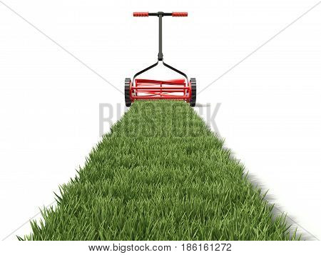 Lawn mower and grass path on white background - 3D illustration