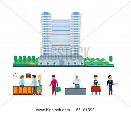 Group of people serving at the hotel. Hotel services, cityscape and the environment, staff, meeting, service. Best hotel building. Modern vector illustration isolated on white background.