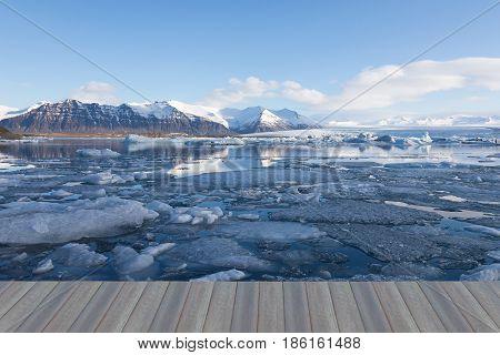 Opening wooden floor Beauty Jokulsarlon lake iceberg lagoon Southeast of Iceland winter season natural landscape background