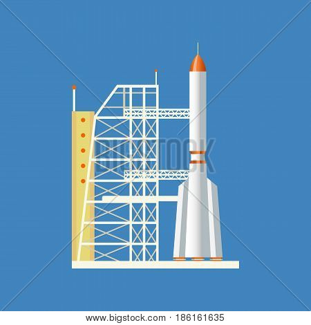 Concept of space, the exploration of outer space. Air vehicles. A rocket launched from a station into the air, installed on a technical base. Modern vector illustration isolated on white background.
