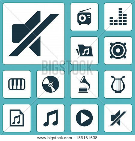 Multimedia Icons Set. Collection Of Dossier, Equalizer, Lyre And Other Elements. Also Includes Symbols Such As Playlist, Mixer, Folder.