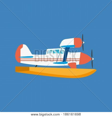 Air vehicles. Modern amphibian seaplane floating in the air and floating on the water. Modern vector illustration isolated on white background.