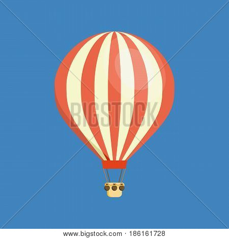 Air vehicles. Hot air balloon in the sky with clouds. Modern vector illustration isolated on white background.