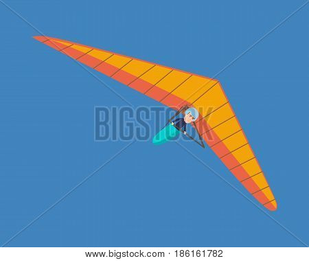 Air vehicles. A modern hang glider, a man hovering in the air on this vehicle. Vector illustration isolated on white background.