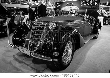 STUTTGART GERMANY - MARCH 02 2017: Sports car Wanderer W25K Roadster 1936. Black and white. Europe's greatest classic car exhibition