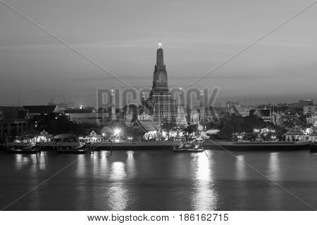 Black and White Arun temple river front Bangkok Thailand landmark