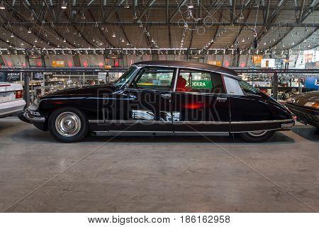 STUTTGART GERMANY - MARCH 02 2017: Mid-size luxury car Citroen DS23 Pallas 1973. Europe's greatest classic car exhibition