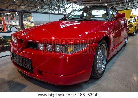 STUTTGART GERMANY - MARCH 02 2017: Sports car Alfa Romeo SZ (Sprint Zagato) or ES-30 1991. Europe's greatest classic car exhibition