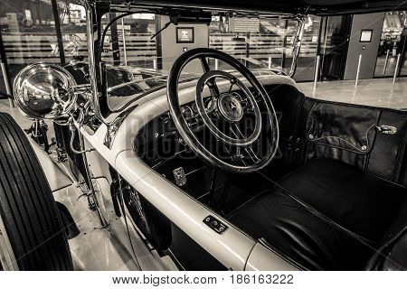 STUTTGART GERMANY - MARCH 02 2017: Cabin of a luxury car Mercedes-Benz 24/100/140 PS Fleetwood D / USA 1924. Sepia toning. Europe's greatest classic car exhibition