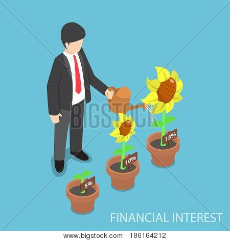 Isometric Businessman Watering Different Size Of Flower Plant
