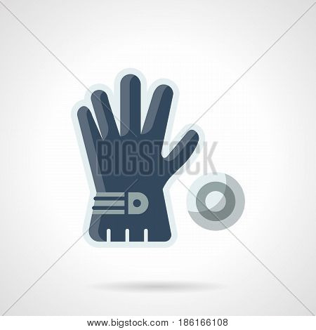 Single golf blue glove and ball. Symbol for golfing and golfers accessories. Flat color style vector icon.