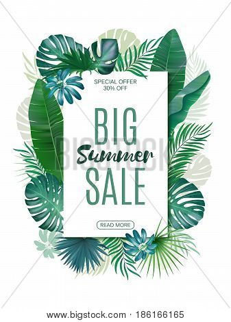Sale banner, poster with exotic leaves, jungle leaf. Vector floral tropical summer background. Vertical format