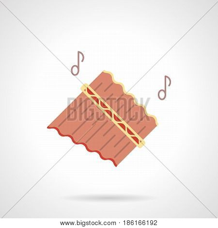 Abstract symbol of pink pan flutes or panpipes with two notes. Woodwind music instruments. Flat color style vector icon.