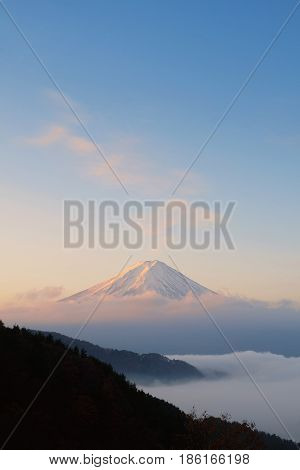 Beautiful Mount Fuji With Sea Of Mist In The Early Morning