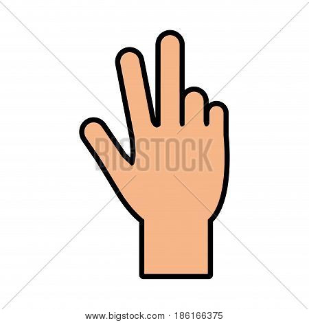 hand counting with three fingers up icon image vector illustration design