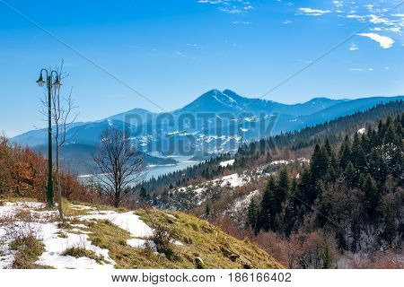 Wintry landscape.View of lake Plastira and the mountains in central Greece