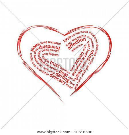 Two love hearts and words