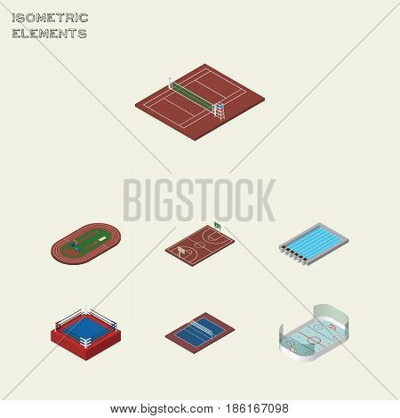 Isometric Lifestyle Set Of Ice Games, Basin, Fighting And Other Vector Objects. Also Includes Pool, Field, Volleyball Elements.