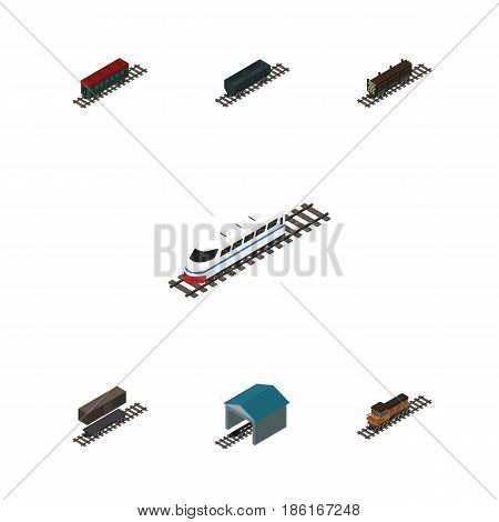 Isometric Train Set Of Depot, Train, Lumber Shipping And Other Vector Objects. Also Includes Locomotive, Stop, Carriage Elements.