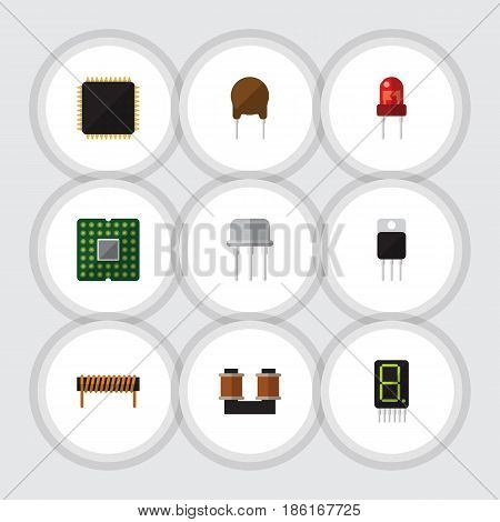 Flat Device Set Of Recipient, Bobbin, Coil Copper And Other Vector Objects. Also Includes Unit, Fiildistor, Motherboard Elements.