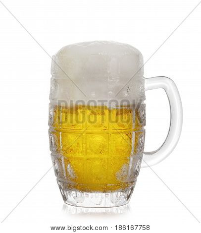 A glass of frothy beer on a white background