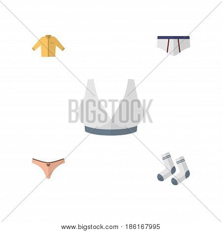 Flat Dress Set Of Foot Textile, Banyan, Lingerie And Other Vector Objects. Also Includes Textile, Underwear, Man Elements.