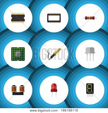 Flat Device Set Of Coil Copper, Resist, Repair And Other Vector Objects. Also Includes Central, Mainframe, Transistor Elements.