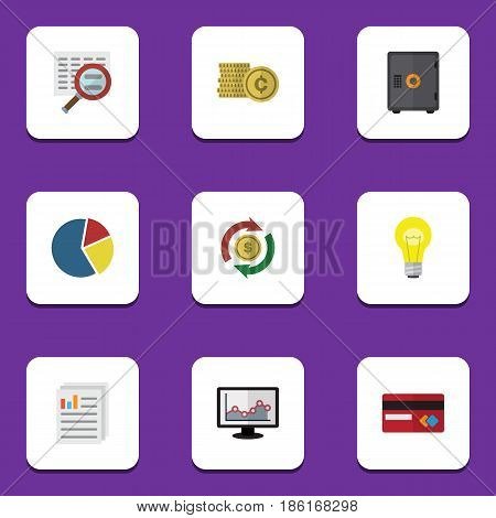 Flat Exchequer Set Of Strongbox, Bubl, Document And Other Vector Objects. Also Includes Credit, Graph, Strongbox Elements.