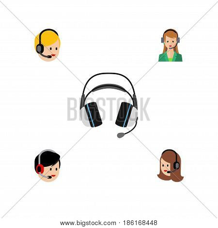Flat Hotline Set Of Call Center, Earphone, Operator And Other Vector Objects. Also Includes Call, Operator, Help Elements.