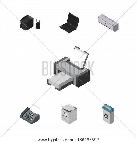 Isometric Office Set Of Printing Machine, Laptop, Wall Cooler And Other Vector Objects. Also Includes Laptop, Tray, Computer Elements.