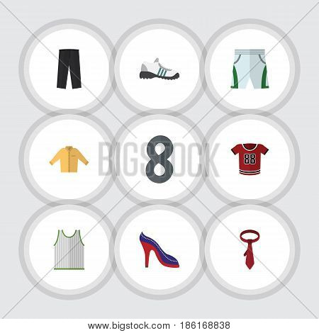 Flat Dress Set Of Heeled Shoe, Sneakers, Trunks Cloth And Other Vector Objects. Also Includes Shoes, Tie, Cloth Elements.