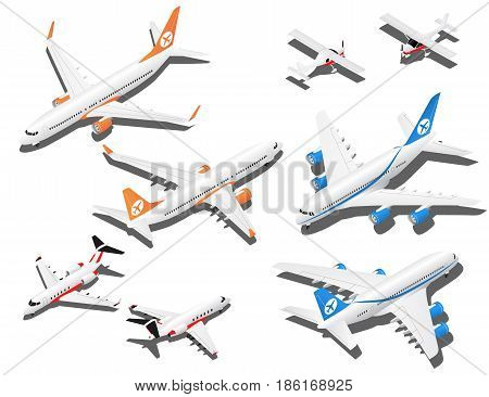 Isometric planes set. Private jet 2 reactive passenger planes and small plane with propeller.