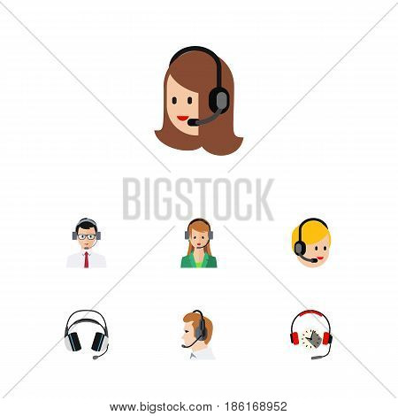 Flat Hotline Set Of Headphone, Help, Secretary And Other Vector Objects. Also Includes Telemarketing, Headset, Operator Elements.
