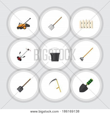 Flat Dacha Set Of Pail, Grass-Cutter, Cutter And Other Vector Objects. Also Includes Lawn, Container, Barrier Elements.