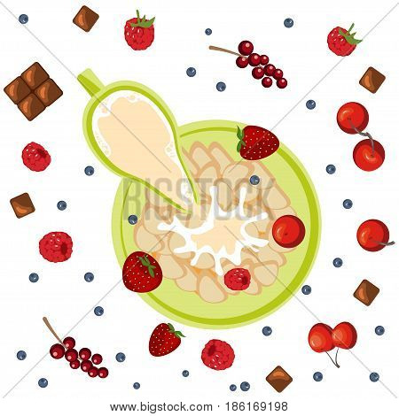 Breakfast with berries, flakes and chocolate. Milk in oatmeal breakfast. Organic muesli. Vector illustration eps 10