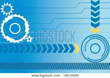 Fundo de conceito industrial com engrenagens e linhas