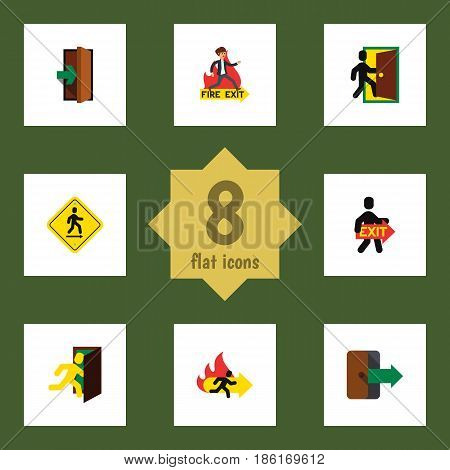 Flat Exit Set Of Open Door, Directional, Exit And Other Vector Objects. Also Includes Emergency, Board, Entry Elements.