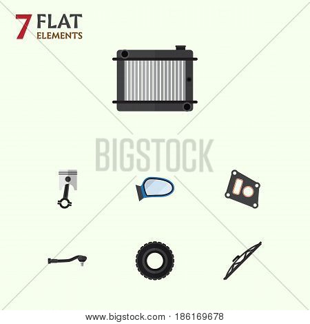 Flat Auto Set Of Conrod, Wheel, Windshield And Other Vector Objects. Also Includes Wheel, Gasket, Radiator Elements.