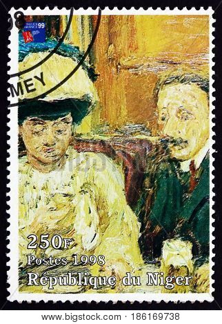 NIGER - CIRCA 1998: a stamp printed in Niger shows Le Petit Cafe Painting by Pierre Bonnard French Painter circa 1998