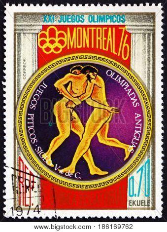 EQUATORIAL GUINEA - CIRCA 1976: a stamp printed in Equatorial Guinea dedicated to 1976 Summer Olympics Montreal circa 1976
