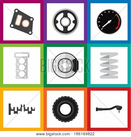 Flat Parts Set Of Crankshaft, Belt, Wheel And Other Vector Objects. Also Includes Metal, Tire, Pulley Elements.