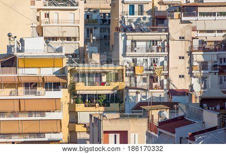 Mess around of Residential blocks (apartments buildings flats).PiraeusGreece
