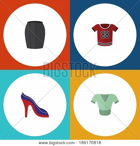 Flat Garment Set Of Casual, Stylish Apparel, T-Shirt And Other Vector Objects. Also Includes Shoes, Blouse, Shirt Elements.
