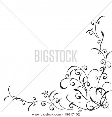 Beautiful floral corner on white background