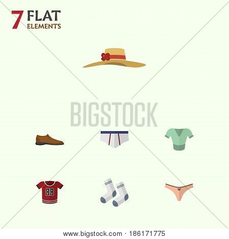 Flat Clothes Set Of Foot Textile, Lingerie, Elegant Headgear And Other Vector Objects. Also Includes Underwear, Foot, Man Elements.