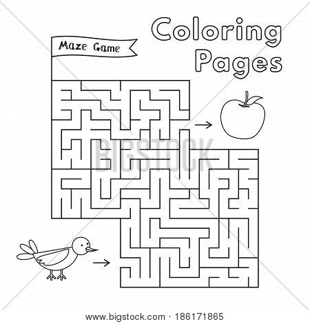 Cartoon bird maze game. Vector coloring book pages for children