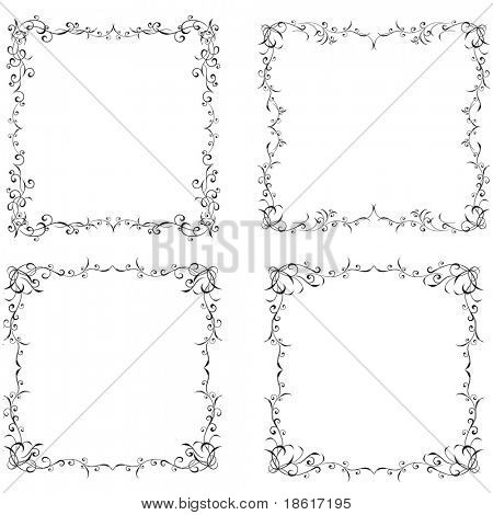 Four beautiful floral frames