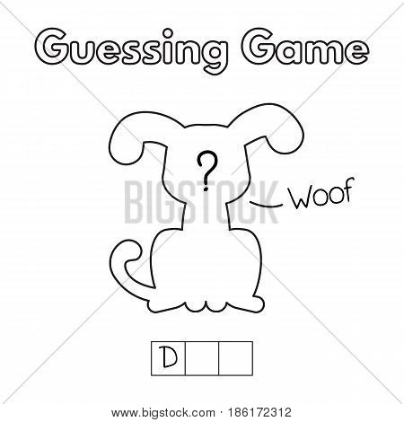 Cartoon dog guessing game. Vector illustration for children education