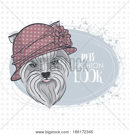 Vector pets fashion look, elegant dog woman's face with bowler hat