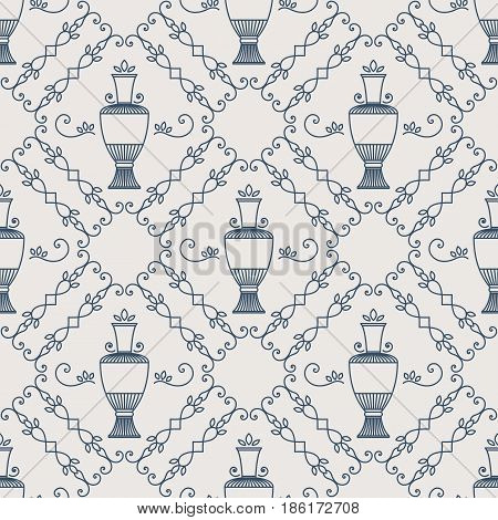 Seamless texture with arabic geometric ornament. Vector lineart pattern with jug